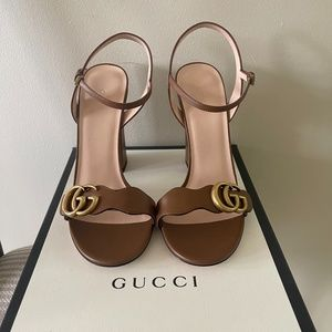 Authentic Leather Double G High-heeled Sandal
